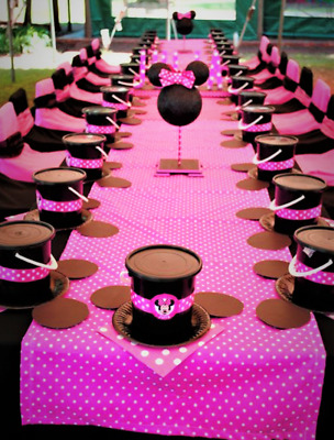 Minnie Mouse Hot Pink Polka Dot Plastic Table Cover Birthday