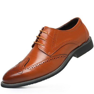 Men's Formal Oxfords Leather Shoes Business Casual Dress Lace up Wedding Loafers