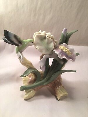 Vintage Fine Collectibles Porcelain Hummingbird And Flowers