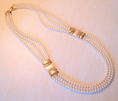 Vintage Necklace signed Napier 3 Strands Rows White Faux Pearl Glass Beads