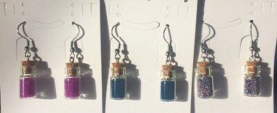 Glass Bottle Shaped Dangle / Drop Hook Earrings With Caviar Beads Size 24.5x10mm