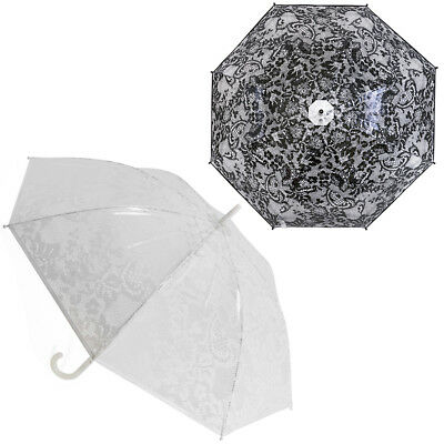 LADIES LACE PRINT dome Umbrella Clear PVC Manual Open Brolly Walking City NEW