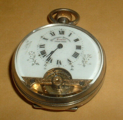 Hallmarked Silver Hebdonas 8 Day Swiss Viewable Works Pocket Watch Working Order
