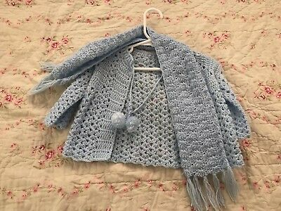 INFANT HANDMADE KNIT CROCHET BLUE PASTEL BABY SWEATER WITH SCARF 3-12m
