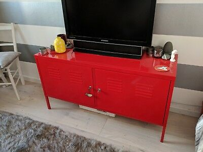 Ikea Red PS Metal Multi Use Cabinet Storage TV Bench 119 Cm X 63 Cm