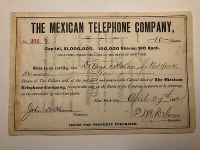 1882 NY Telephone Stock Certificate Sign By FDR Namesake, Franklin Delano
