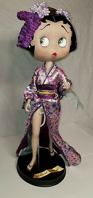 "Danbury Mint Betty Boop Doll figurine 16"" porcelain Japanese  dress w/ stand"