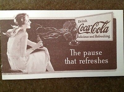 "Old Original Coca Cola Ink Blotter 1935 ""The Pause That Refreshes"""