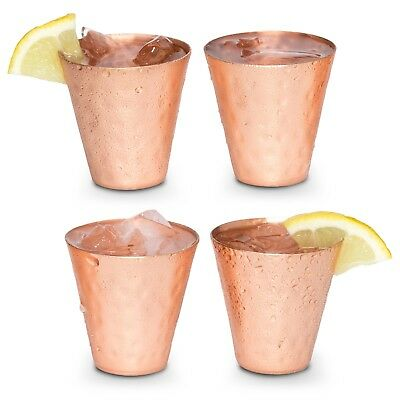 Copper shot glass set of 4 - 2oz hammered - for ice cold vodka, tequila, whisky