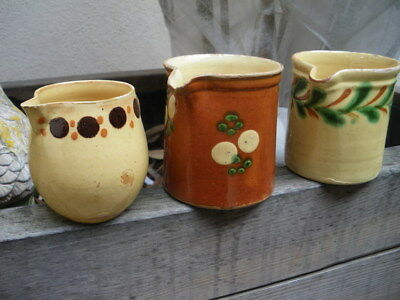 3 ANCIENNE POTERIE SAVOIE/ Antique french pottery/ no confit pot / polka dot