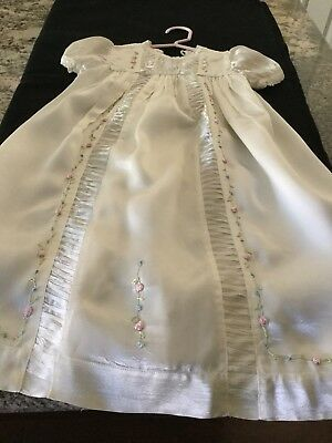Vintage Satin Baby Christening Gown Dress