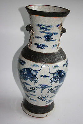 Large Antique Chinese Porcelain Carved Painted Blue & White Dragon Vase - Marks