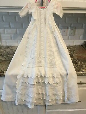 Antique Victorian Baby Cotton Lace Christening Gown Dress