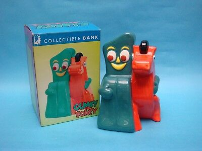 "GUMBY & POKEY BANK 1997 Prema Toy 8.5"" CERAMIC COIN BANK by CLAY ART #2404"