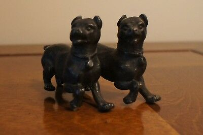 Early Small Bronze Standing Bear and Conjoined Lead Dogs