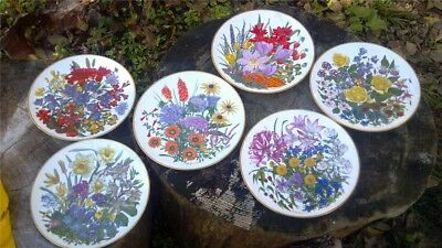 """COMPLETE Set of 6 1970s Franklin Mint Wedgwood FLOWERS OF THE YEAR 10.5"""" Plates"""