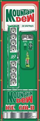 MOUNTAIN DEW VENDING SODA MACHINE RETRO VINTAGE REMAKE ART BANNER MURAL SIGN 2x6