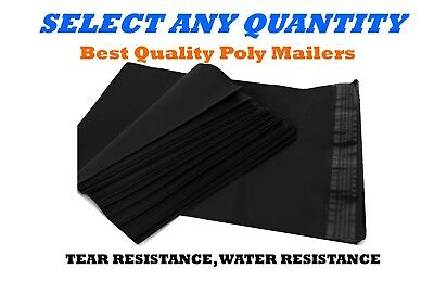 """7.5x10.5 BLACK POLY MAILERS Shipping Envelopes Self Sealing Mailing Bags 7""""x10"""""""