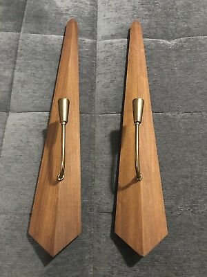 2 Vintage Mid Century Modern Wood Brass Wall Candle Holders Sconces MCM 31""