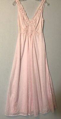 Vintage OLGA Shimmery Pink Lace Nightgown Gown #92280 Size Large