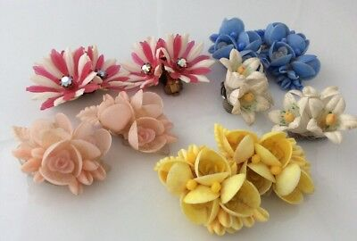 Fabulous Collection Of 5 Pairs Of Vintage Clip-On Earrings In Celluloid/Plastic