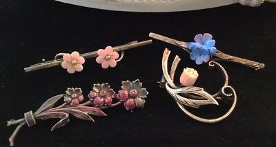 Fabulous Collection Of Four Vintage Flower Brooches