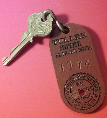 HOTEL TULLER DETROIT OLD KEY and fob Book Cadillac Hotel Detroit Michigan