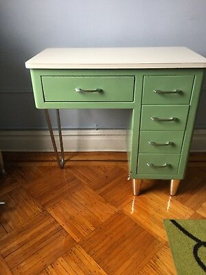 Vintage Mid Century Modern  Original Mint Green Metal  Medical Desk