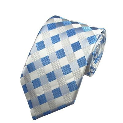 Light Blue and White Check Patterned Handmade 100% Silk Tie