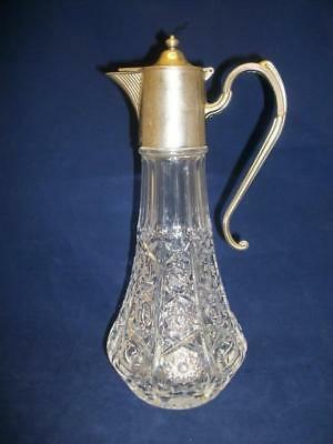 Vintage Glass Decanter with Silver Plated Top & Handle (00228-MY)