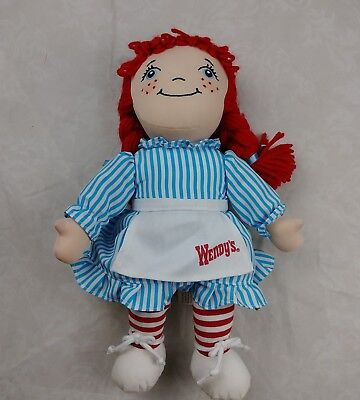 """Wendy's Fast Food Promotional Rag Doll Plush Collectible 12"""" #C"""