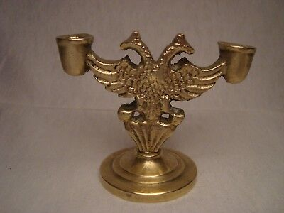 Vintage solid brass Orthodox candle holder with Byzantine Double Headed Eagle