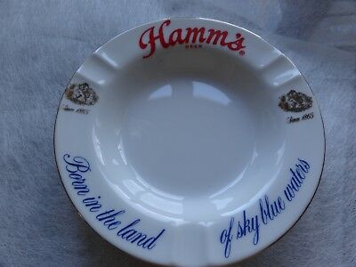 Mid Century 60's Vintage Hamms Beer Ashtray With Gold Trim Mint New Old Stock