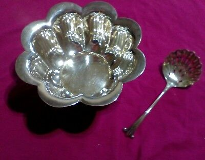 Alex r Clark silver plate sugar bowl, with sifter spoon, vintage/antique?