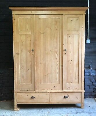 Victorian Antique Pine Knockdown Triple Wardrobe Beautifully Restored