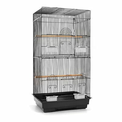 88cm Bird Cage Parrot Pet Carrier Portable Canary Budgie Finch Perch M Black