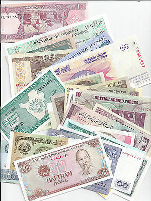 50+ Different World Banknotes Collection, 25+ different countries Uncirculated