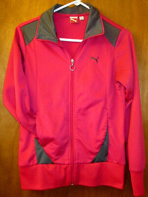 Puma Athletic Hoodie Full Zip Jacket,  Teen  M 12-14, Pink & Gray, Very Nice