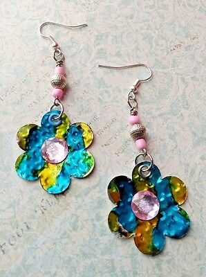 Upcycle RECYCLED soda POP can EARRINGS mixed media jewelry blue pink FLOWER