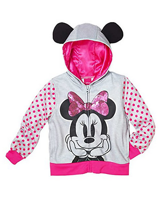 Disney Minnie Mouse Little Girls Toddler Zip up Character Hoodie Size 5