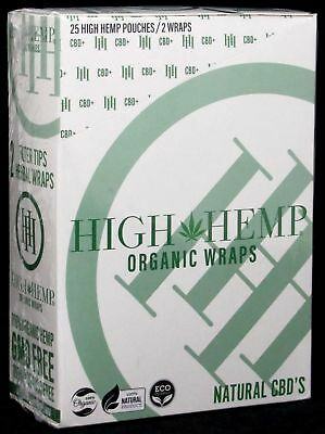 High Hemp Organic Herbal Wraps Full Box of 25 Pouches (2 Per Pouch) 50 Total.