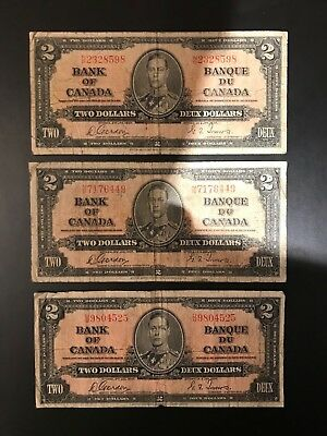 1937 Bank of Canada Deux Dollars Bank Note Gordon Towers, Quantity 3