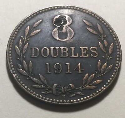 Guernesey 1914 Eight (8) Doubles Coin