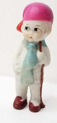 Vintage Bisque Doll Little Girl w/ hockey stick Frozen Charlotte Type Japan