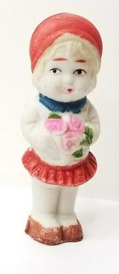 Vintage Bisque Doll Little Girl w/ Roses Frozen Charlotte Type Japan