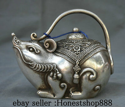 "6.4"" Marked Old China Silver Dynasty Palace Mouse Rat Flower Teapot Wine Pot"