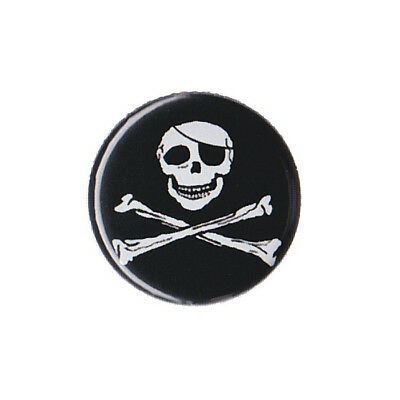"Pirate Jolly Roger Eye Patch Skull - Badge Button 1.25"" 32mm Crossbones Party"