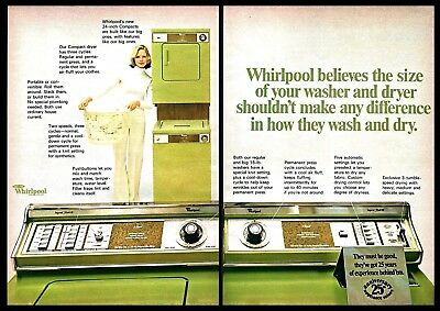 1973 Whirlpool Compact Washer & Dryer Laundry Vintage PRINT AD 1970s