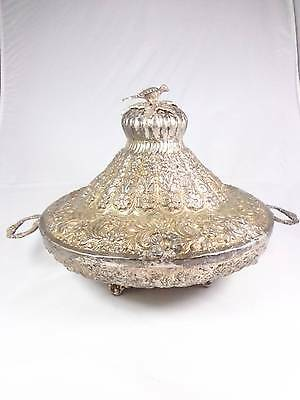 Antique Egyptian hand made engraved L lidded silver bowl plate hallmark 1948