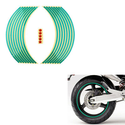 "Green 18"" Rim Tape Decals Vinyl Stickers Stripes Reflective Motorcycle Wheel"